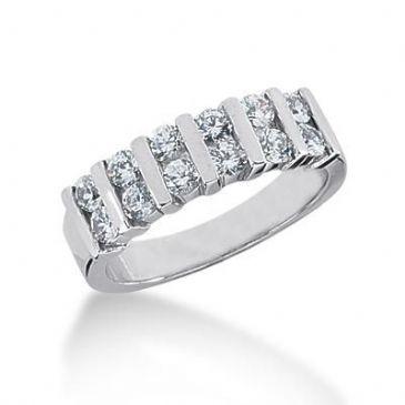 14K Gold Diamond Anniversary Wedding Ring 12 Round Brilliant Diamonds 0.84ctw 112WR219914K