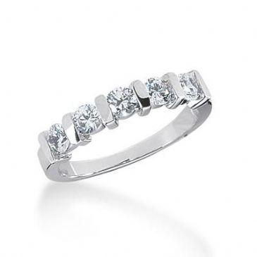 14K Gold Diamond Anniversary Wedding Ring 5 Round Brilliant Diamonds 0.75ctw 113WR222414K