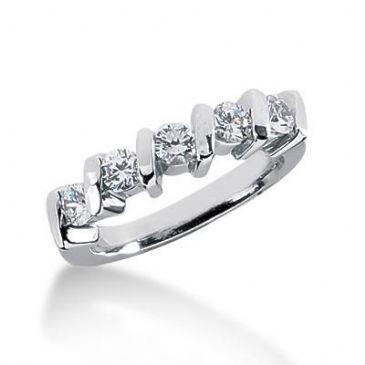 14K Gold Diamond Anniversary Wedding Ring 5 Round Brilliant Diamonds 0.75ctw 115WR39514K