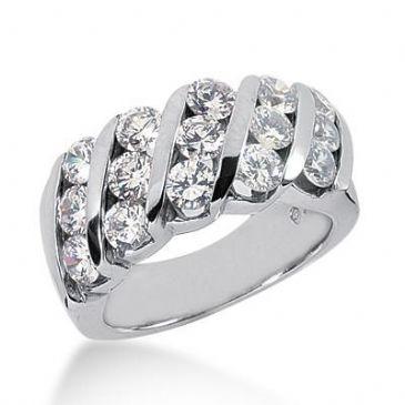 14K Gold Diamond Anniversary Wedding Ring 15 Round Brilliant Diamonds 3.00ctw 120WR23614K
