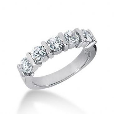 14K Gold Diamond Anniversary Wedding Ring 5 Round Brilliant Diamonds 1.25ctw 121WR17614K