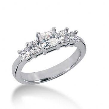 14K Gold Diamond Anniversary Wedding Ring 5 Princess Cut Diamonds 1.11ctw 125WR158914K