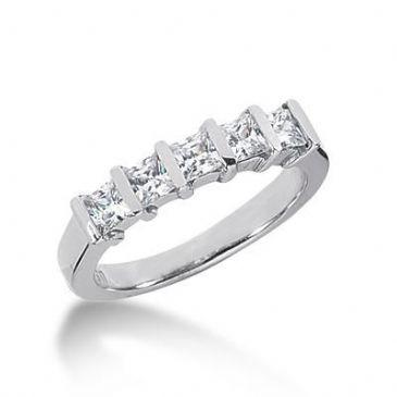 14K Gold Diamond Anniversary Wedding Ring 5 Princess Cut Diamonds 0.8ctw 129WR66614K