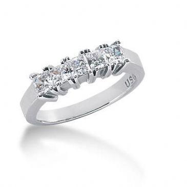 14K Gold Diamond Anniversary Wedding Ring 5 Princess Cut Diamonds 0.85ctw 130WR36414K