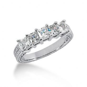 14K Gold Diamond Anniversary Wedding Ring 5 Princess Cut Diamonds 1.40ctw 131WR18814K