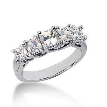 14K Gold Diamond Anniversary Wedding Ring 5 Princess Cut Diamonds 1.85ctw 132WR54014K