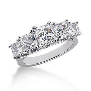 14K Gold Diamond Anniversary Wedding Ring 5 Princess Cut Diamonds 3.45ctw 133WR56414K