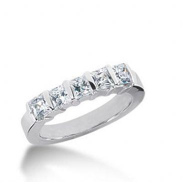 14K Gold Diamond Anniversary Wedding Ring 5 Princess Cut Diamonds 0.8ctw 136WR132414K