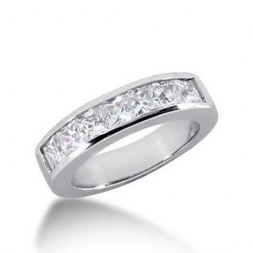 14K Gold Diamond Anniversary Wedding Ring 7 Princess Cut Diamonds 1.40ctw 138WR22414K