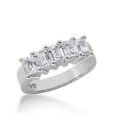 14K Gold Diamond Anniversary Wedding Ring 5 Emerald Cut Diamonds 1.25ctw 145WR48114K
