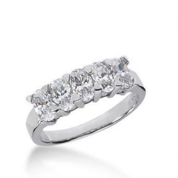 14K Gold Diamond  Anniversary Wedding Ring 5 Oval Shaped Diamond 1.65ctw 148WR41314K