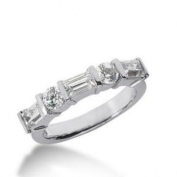 14K Gold Diamond Anniversary Wedding Ring 2 Round Brilliant Diamonds, 3 Emerald Cut Diamonds 1.30ctw 151WR191614K