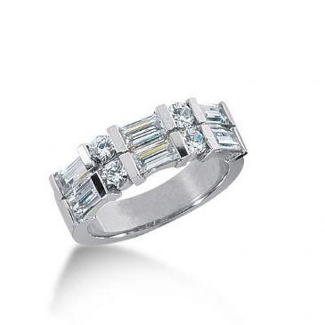 14K Gold Diamond Anniversary Wedding Ring 4 Round Brilliant, 6 Straight Baguette Diamonds 1.86ctw 154WR222814K