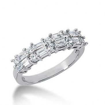 14K Gold Diamond Anniversary Wedding Ring 10 Round Brilliant Diamonds, 8 Straight Baguette Diamonds 0.86ctw 155WR221214K