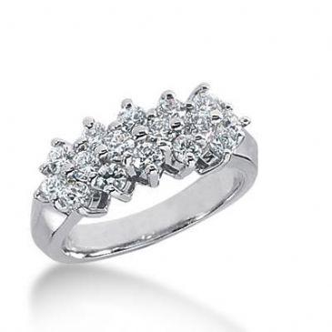 14K Gold Diamond Anniversary Wedding Ring 16 Round Brilliant Diamonds 1.12ctw 156WR224314K
