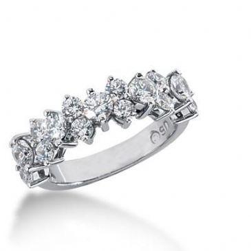 14K Gold Diamond Anniversary Wedding Ring 17 Round Brilliant Diamonds 1.35ctw 159WR159514K
