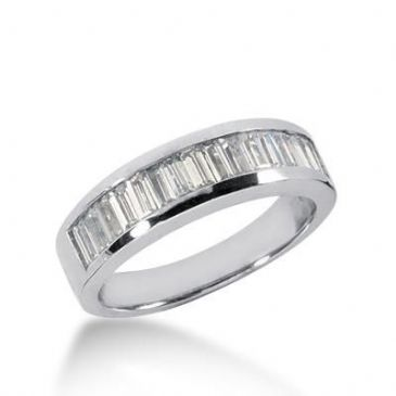14K Gold Diamond Anniversary Wedding Ring 17 Straight Baguette Diamonds 1.19ctw 164WR49014K