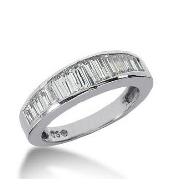 14K Gold Diamond Anniversary Wedding Ring 12 Straight Baguette Diamonds 1.36ctw 165WR142414K