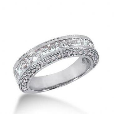 14K Gold Diamond Anniversary Wedding Ring 17 Princess Cut, 46 Round Brilliant Diamonds 2.16ctw 166WR67714K