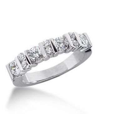 14K Gold Diamond Anniversary Wedding Ring 10 Round Brilliant Diamonds 0.98ctw 170WR132114K