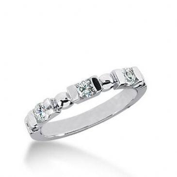 14K Gold Diamond Anniversary Wedding Ring 3 Round Brilliant Diamonds 0.30ctw 171WR140914K