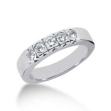 14K Gold Diamond Anniversary Wedding Ring 5 Round Brilliant Diamonds 0.50ctw 176WR11814K