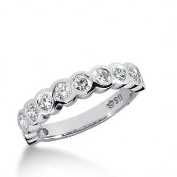 14K Gold Diamond Anniversary Wedding Ring 11 Round Brilliant Diamond 0.88ctw 183WR140314K
