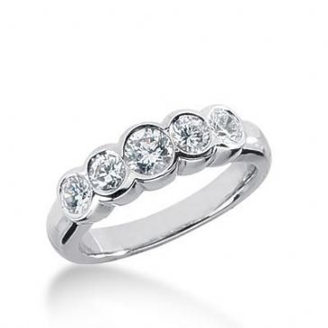 14K Gold Diamond Anniversary Wedding Ring 5 Round Brilliant Diamonds 0.95ctw 184WR186114K
