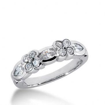 14K Gold Diamond Anniversary Wedding Ring 8 Round Brilliant, 3 Marquise Shaped Diamonds 1.15ctw 185WR26414K