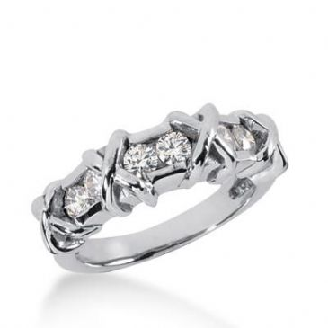 14K Gold Diamond Anniversary Wedding Ring 6 Round Brilliant Diamonds 0.60ctw 186WR153714K