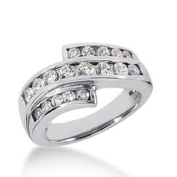 14K Gold Diamond Anniversary Wedding Ring 18 Round Brilliant Diamonds 0.86ctw 190WR57614K