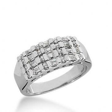 14K Gold Diamond Anniversary Wedding Ring 16 Round Brilliant, 12 Straight Baguette Diamonds 0.60ctw 193WR165514K