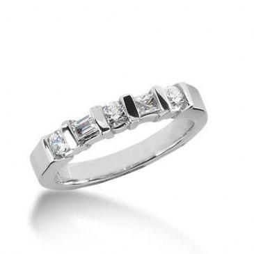 14K Gold Diamond Anniversary Wedding Ring 3 Round Brilliant, 2 Straight Baguette Diamonds 0.48ctw 194WR148914K