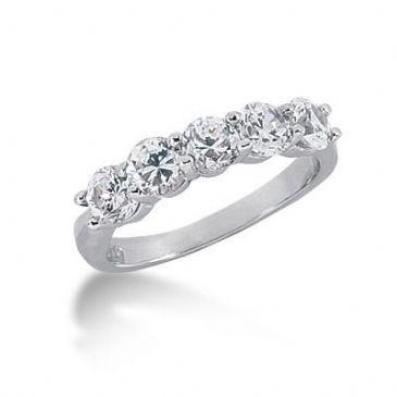 14K Gold Diamond Anniversary Wedding Ring 5 Round Brilliant Diamonds 1.50ctw 198WR61514K