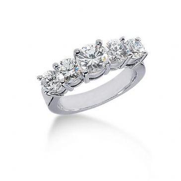 14K Gold Diamond Anniversary Wedding Ring 5 Round Brilliant Diamonds 2.60ctw 201WR188714K
