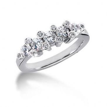 14K Gold Diamond Anniversary Wedding Ring 15 Round Brilliant Diamonds 0.88ctw 203WR38014K