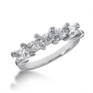14K Gold Diamond Anniversary Wedding Ring 12 Round Brilliant, 5 Oval Shaped Diamonds 1.37ctw 204WR38614K
