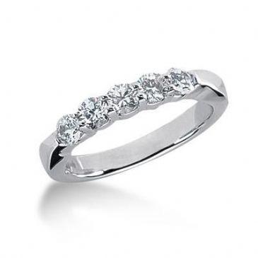 14K Gold Diamond Anniversary Wedding Ring 5 Round Brilliant Diamonds 0.75ctw 206WR40114K