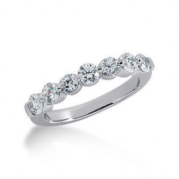 14K Gold Diamond Anniversary Wedding Ring 7 Round Brilliant Diamonds 1.05ctw 208WR223714K