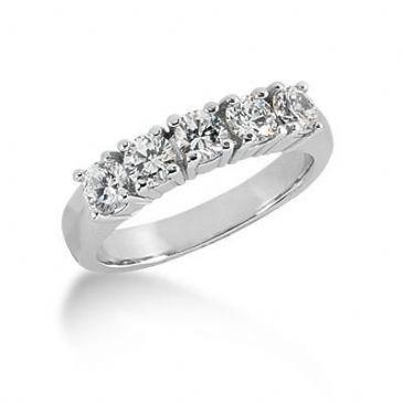 14K Gold Diamond Anniversary Wedding Ring 5 Round Brilliant Diamonds 1.00ctw 210WR147514K