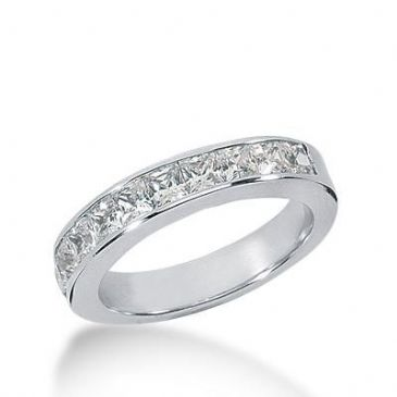 14K Gold Diamond Anniversary Wedding Ring 9 Princess Cut Diamonds 0.90ctw 216WR100214K