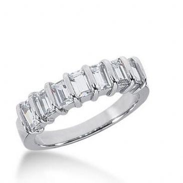 14K Gold Diamond Anniversary Wedding Ring 7 Straight Baguette Diamonds 1.19ctw 219WR100914K