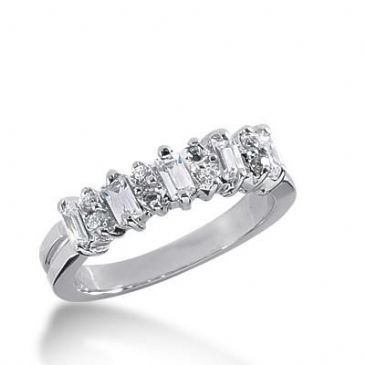 14K Gold Diamond Anniversary Wedding Ring 8 Round Brilliant, 5 Straight Baguette Diamonds 0.66ctw 231WR105214K