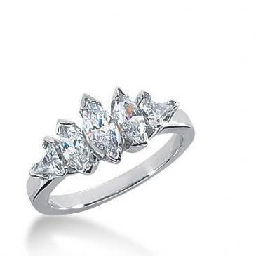 14K Gold Diamond Anniversary Wedding Ring 3 Marquise Shaped, 2 Trillion Shaped Diamonds 0.90ctw 234WR106914K