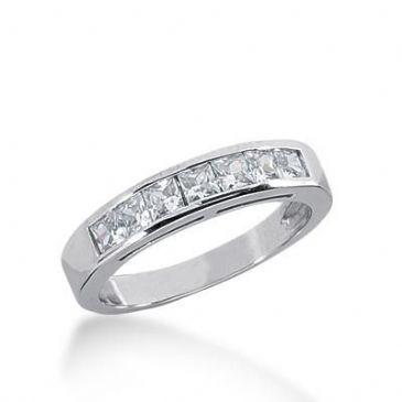 14K Gold Diamond Anniversary Wedding Ring 7 Princess Cut Diamonds 0.70ctw 236WR107814K