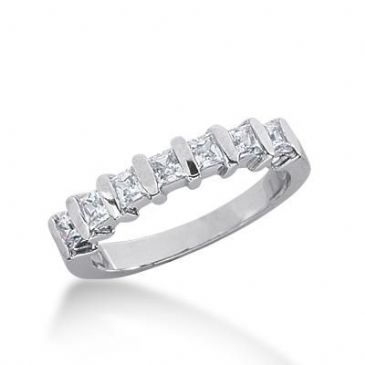 14K Gold Diamond Wedding Ring 7 Princess Cut Diamonds 0.70ctw 237WR108014K