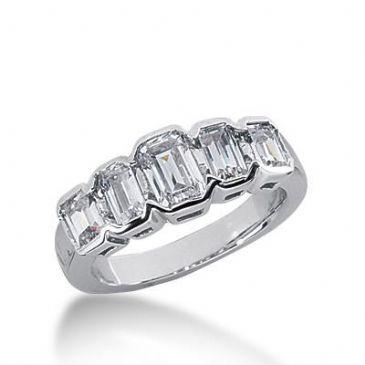 14k Gold Diamond Anniversary Wedding Ring 5 Emerald Cut Diamonds 1.65ctw 240WR108314K