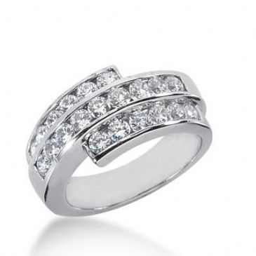 14K Gold Diamond Anniversary Wedding Ring 21 Round Brilliant Diamonds 1.68ctw 243WR108614K