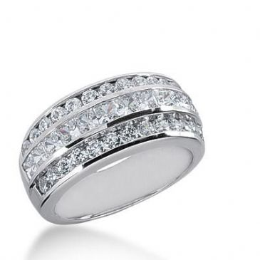14K Gold Diamond Anniversary Wedding Ring 12 Princess Cut, 26 Round Brilliant Diamonds 1.68ctw 244WR108714K