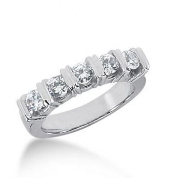 14K Gold Diamond Anniversary Wedding Ring 5 Round Brilliant Diamonds 0.75ctw 248WR109314K